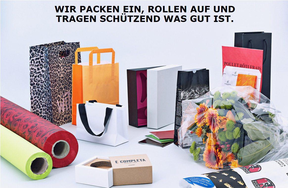 Ein grosses Sortiment an Geschenkpapier, Blumseide, Lebensmittelverpackungen und Tragetaschen.