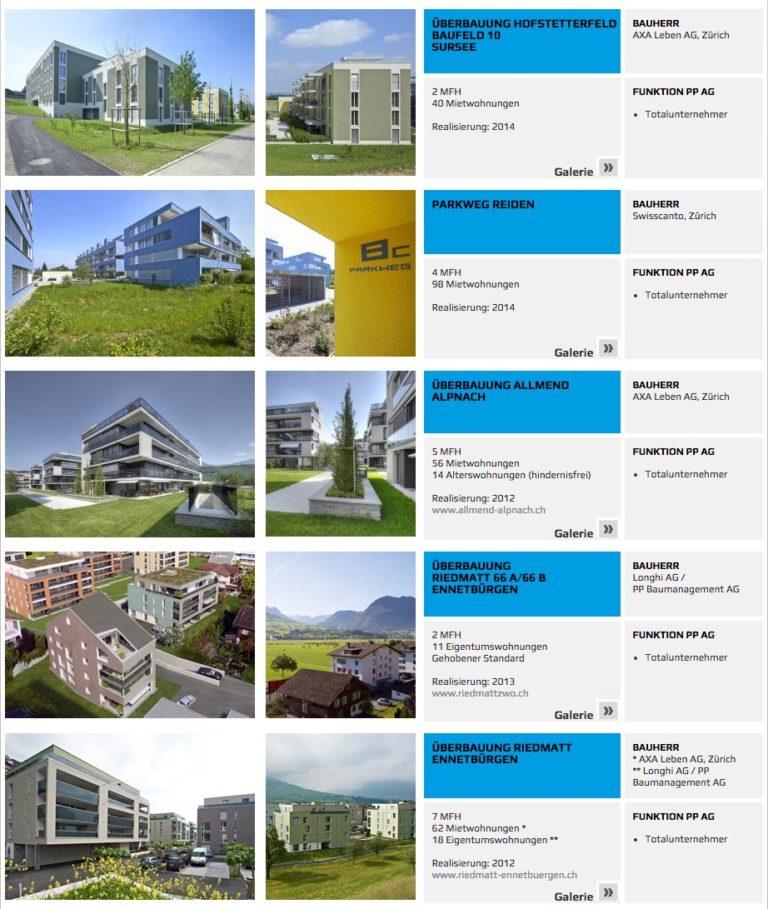 Objekte von der Generalunternehmung PP Baumanagement AG Luzern / Kriens