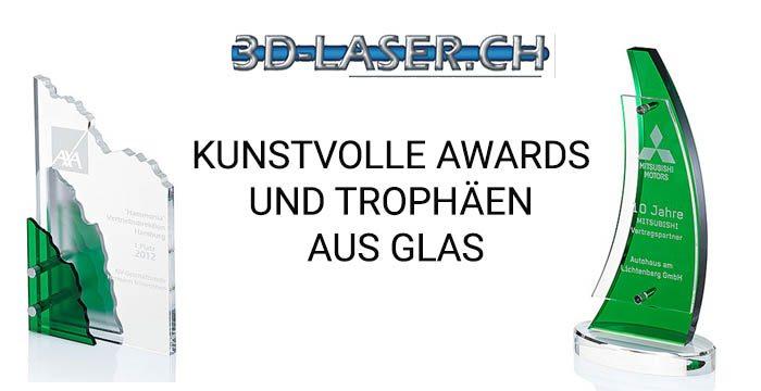 TItelbild Bericht kunstvolle Awards und Trophäen aus Glas