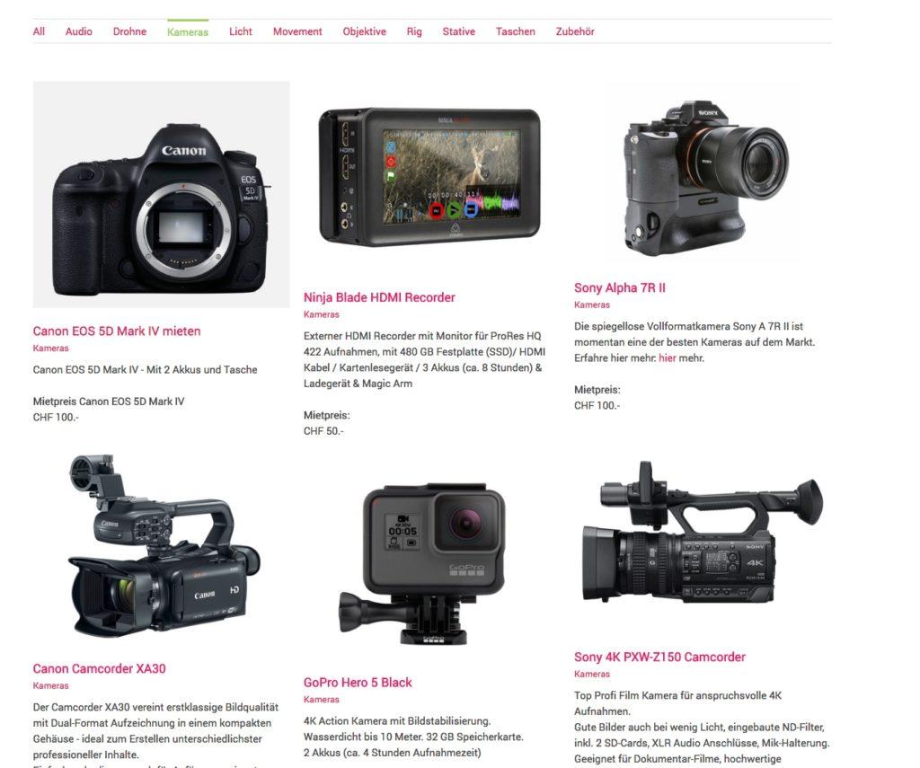 Das Equipment ist nach Kategorien geordnet. Z.B. Kategorie Kameras.