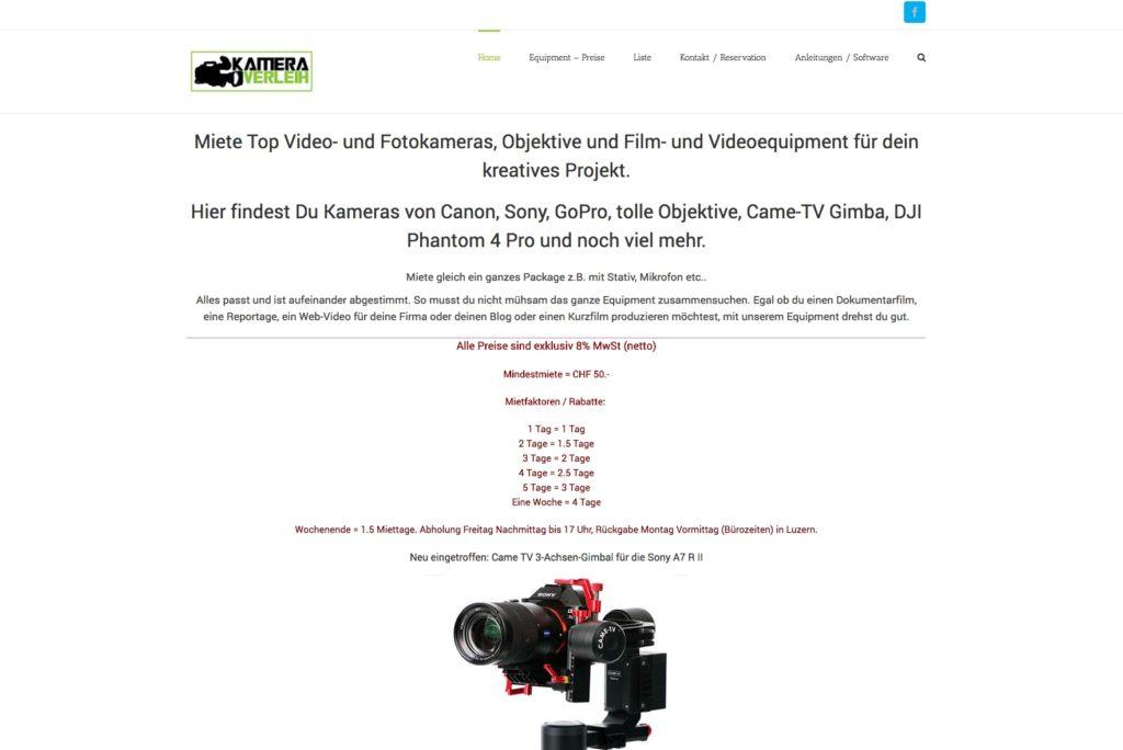 Webseite von Kamera Verleih Luzern - Kameras mieten