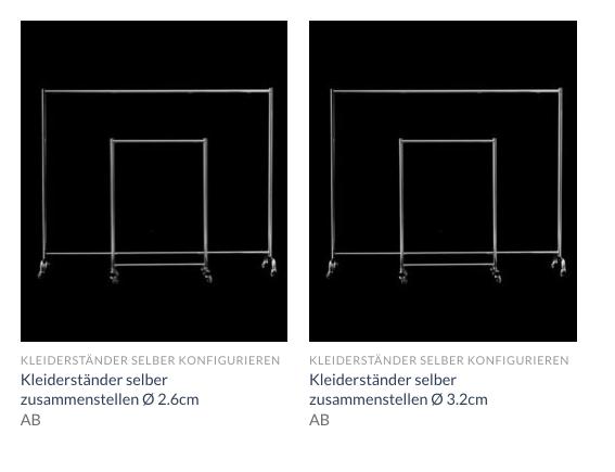 Kleiderständer Konfigurator selber zusammen stellen konfigurieren
